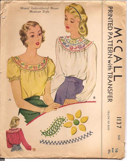 Molde de costura dos anos 1930