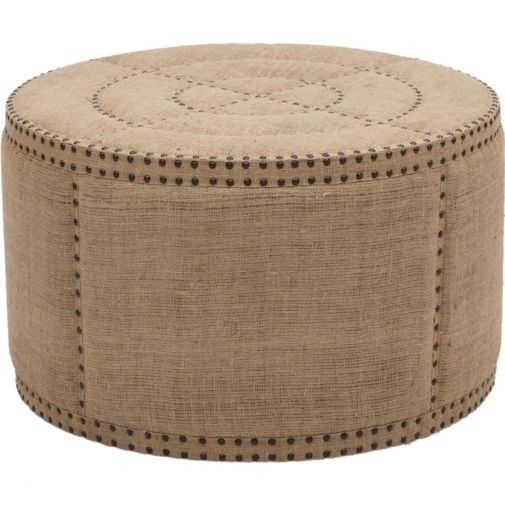 affordable find: round burlap ottoman