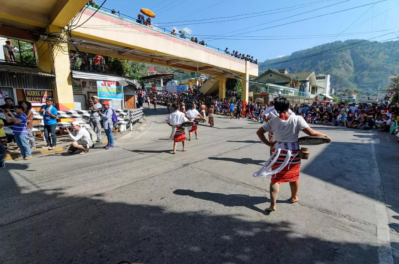 Mountain Province 13th lang-Ay Festival Street Dancing in the Streets of Bontoc Under the Bridge.