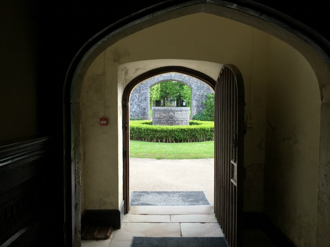 St-Fagans-Castle-door-way-with-garden-fountain-in-the-sunlight