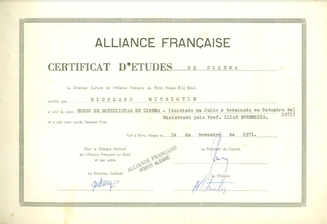 Diploma de roteirista de Nikolaos. Foto: acervo Nikolaos Argyrios Mitsiotis