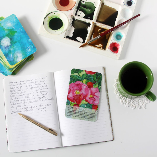 journaling, Soulflower Oracle Deck, studio, painting, watercolor, Anne Butera, My Giant Strawberry