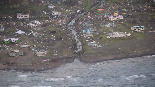 Aerial view of tropical cyclone winston damage in Fiji