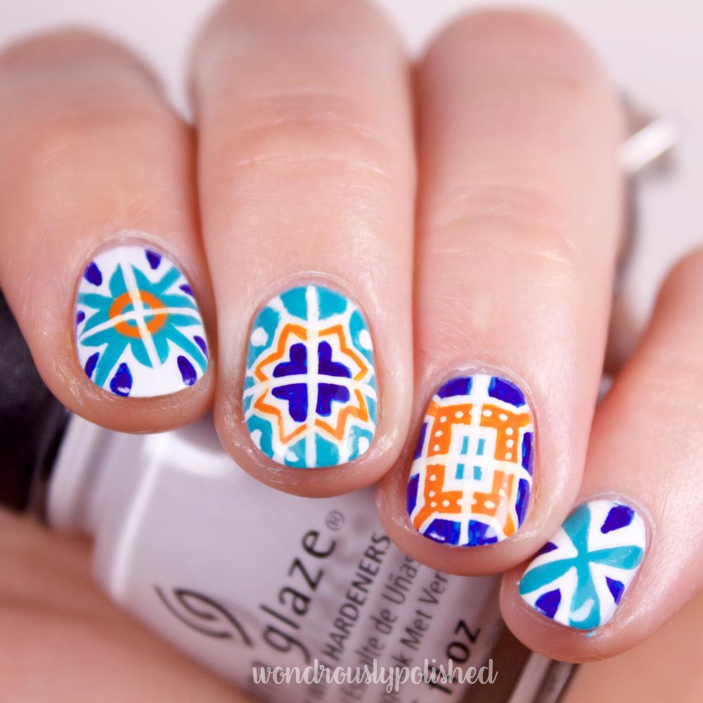 Wondrously Polished Nail Art Talavera Mexican Tiles