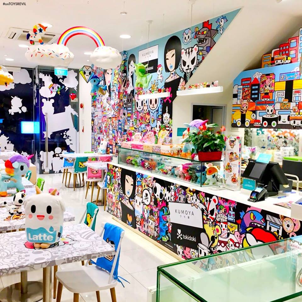 The world'd first tokidoki pop-up café opens its doors Thursday March 29th  at Kumoya, Singapore, and the interior decor features floor-to-ceiling  tokidoki!
