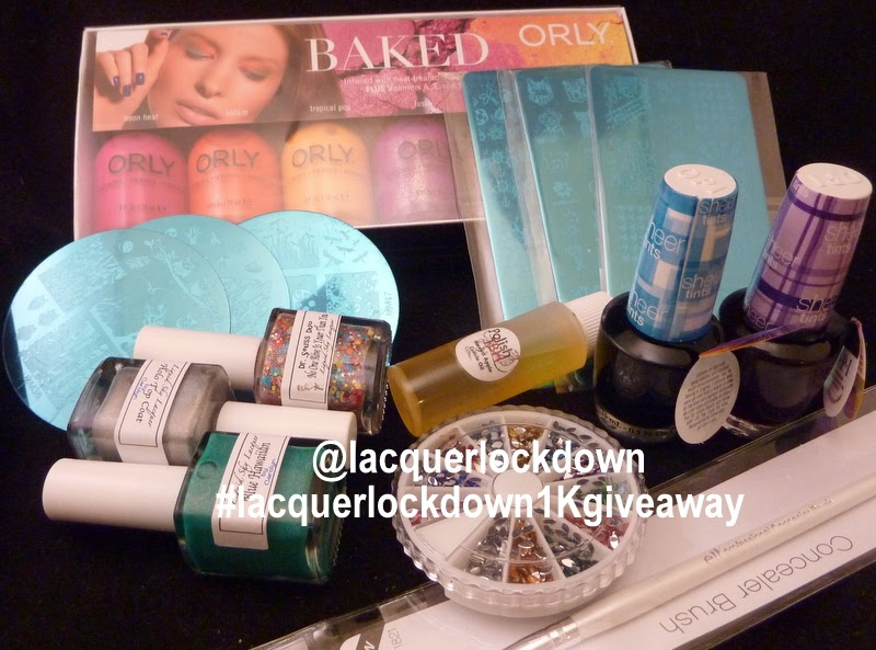 lacquerlockdown - lacquerlockdown giveaway, liquidsky lacquer, opi sheer tints, polishtbh, orly baked 2014 spring collection, messy mansion nail art plates, myonlin shop jr plates, stamping nail art, rhinestones, 1kgiveaway