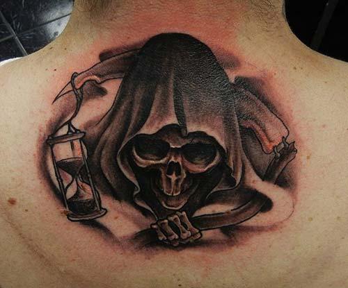 back neck grim reaper tattoos ense azrail dövmeleri