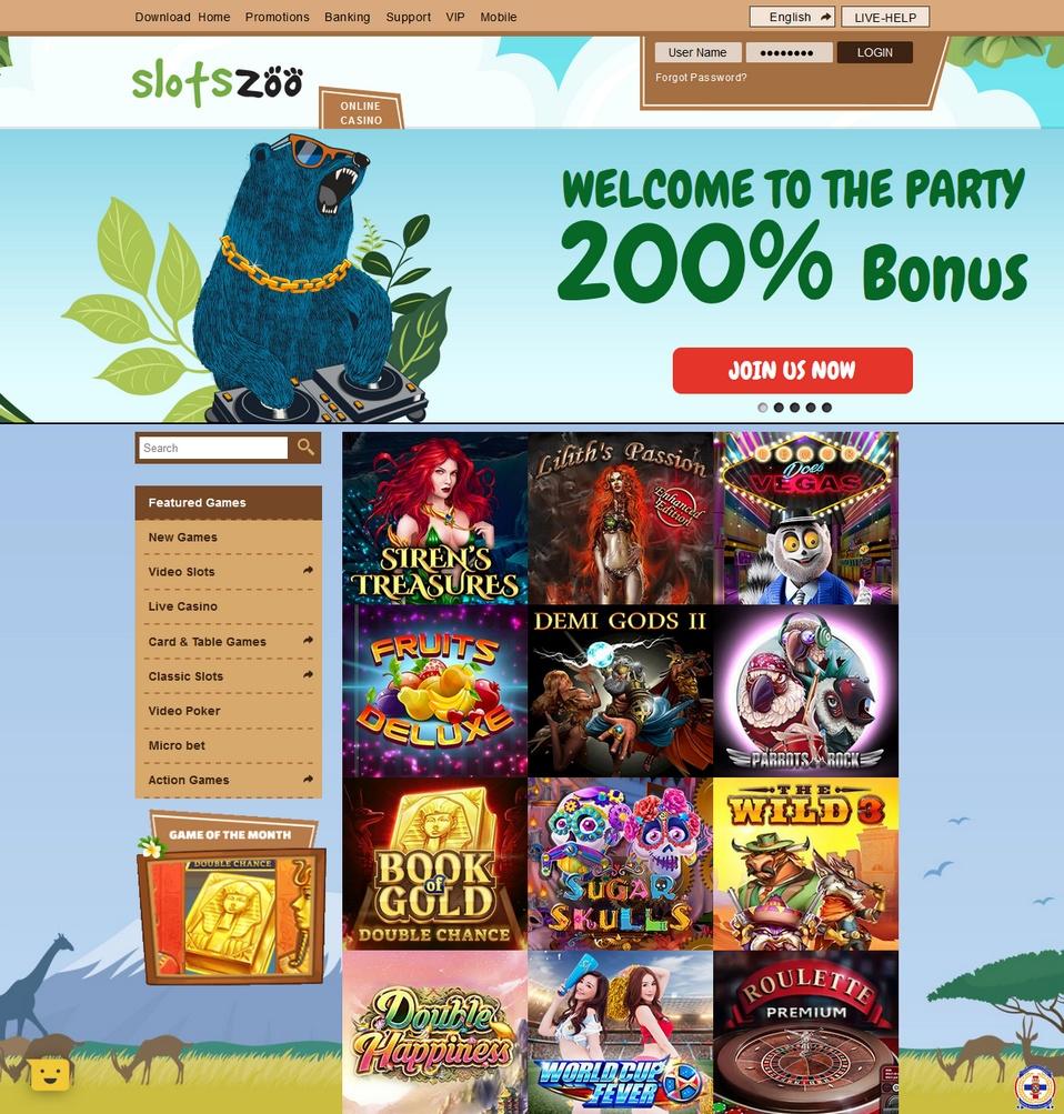 SlotsZoo Screen