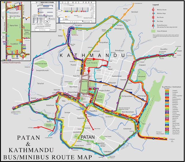Mapas de transportes de Catmandu – Nepal