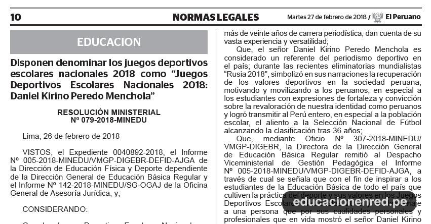 R. M. Nº 079-2018-MINEDU - Disponen denominar los juegos deportivos escolares nacionales 2018 como «Juegos Deportivos Escolares Nacionales 2018: Daniel Kirino Peredo Menchola» www.minedu.gob.pe
