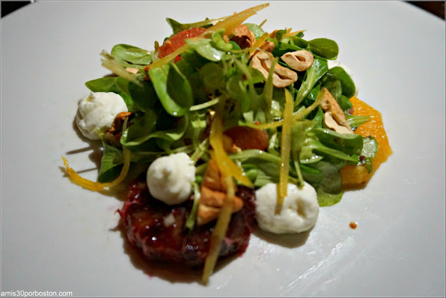 Winter Citrus Salad: Parsnip & fennel mousse, pickled zest, mâche, toasted cashews, tarragon vinaigrette