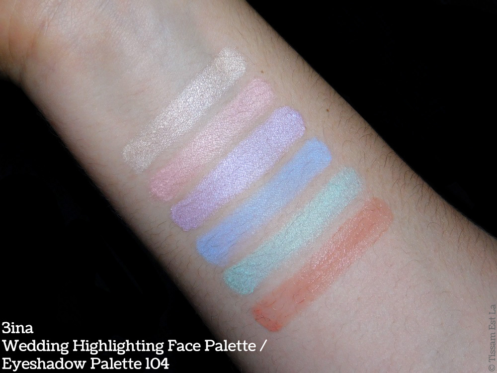 3ina Wedding Highlighing Face Palette - Eyeshadow Palette 104 Review & Swatches - Avis & Swatch - 3ina Palette pour le Visage