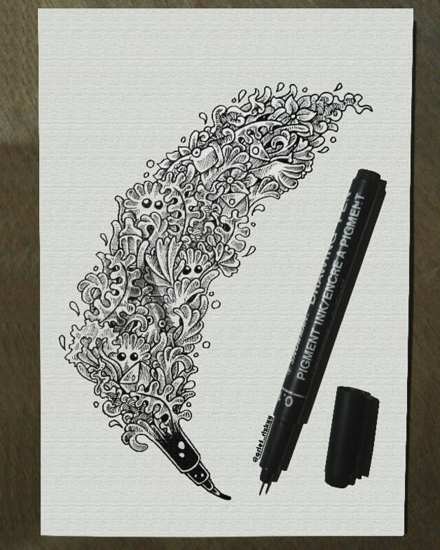 06-Pen-Mr-A-Black-and-White-Ink-Doodles-www-designstack-co