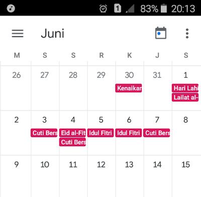 Cara membuat kalender di smartphone dengan tanggal merah (hari libur nasional)