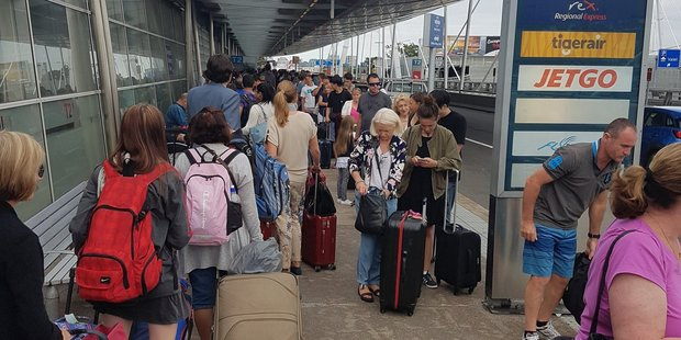 Huge lines at Sydney Airport's Virgin Terminal
