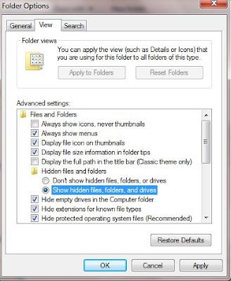Cara Menampilkan Folder Tersembunyi (Hidden) Pada Komputer, cara menampilkan folder tersembunyi, cara menampilkan file tersembuyi, teori komputer, tutorial komputer
