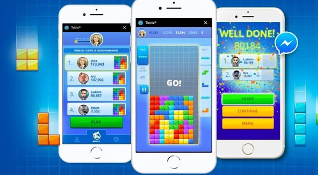 Tetris, Facebook messenger için anlık oyun yayınladı.