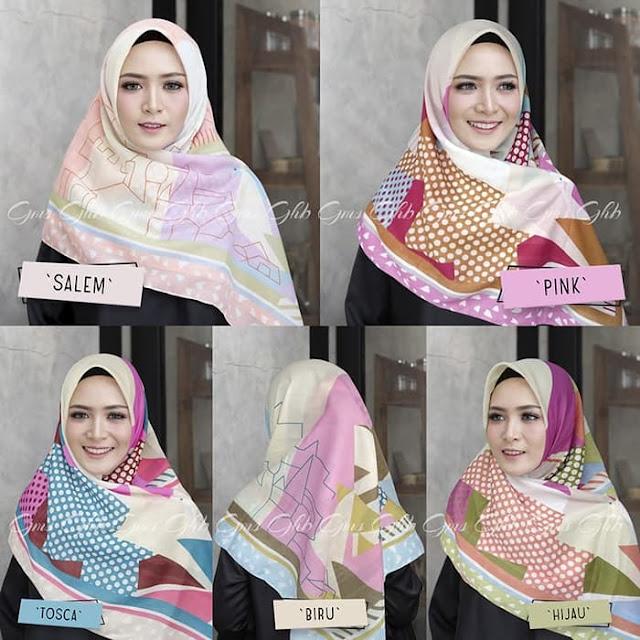 Jilbab Segi Empat VOAL LOVE dengan Warna LENGKAP