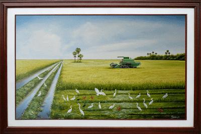 Oleo, paisaje,arroz
