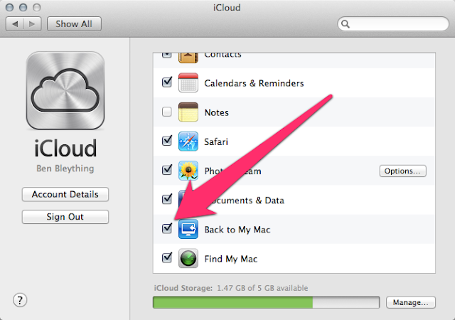 Back to My Mac In iCloud Preferences