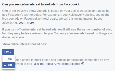 Turn off online interest-based ads