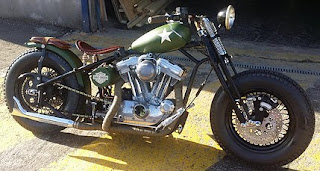 sportster bobber by sledhead custom cycles green military