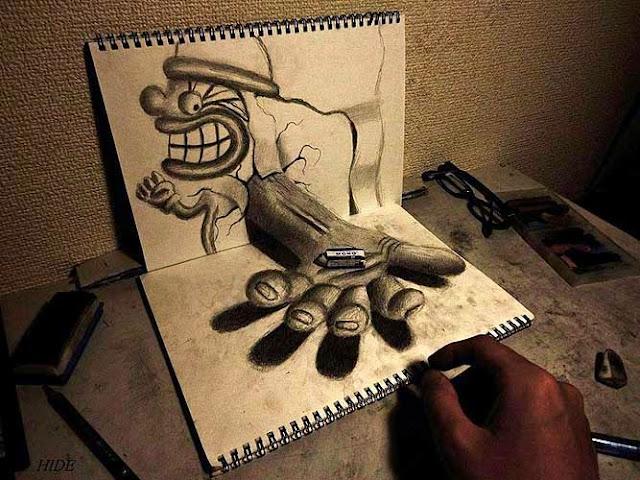 Amazing Nagai Hideyuki 3D Illusion Sketch Art