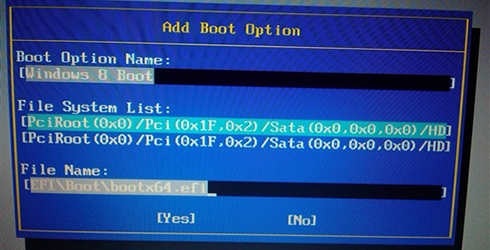 hội thoại add boot option