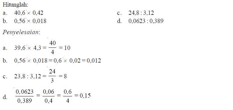 Cara Menghitung Operasi Perkalian Dan Pembagian Pada Bilangan Pecahan Desimal Beserta Contohnya