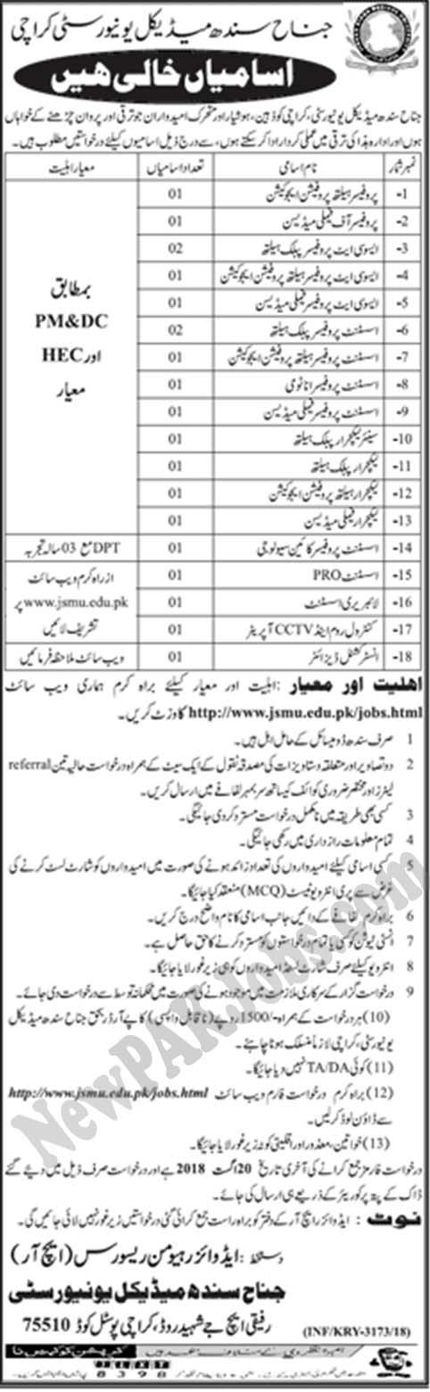 Latest Jobs - jsmu.edu.pk