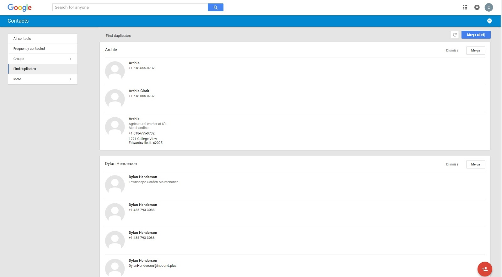 how to remove duplicate contacts from gmail
