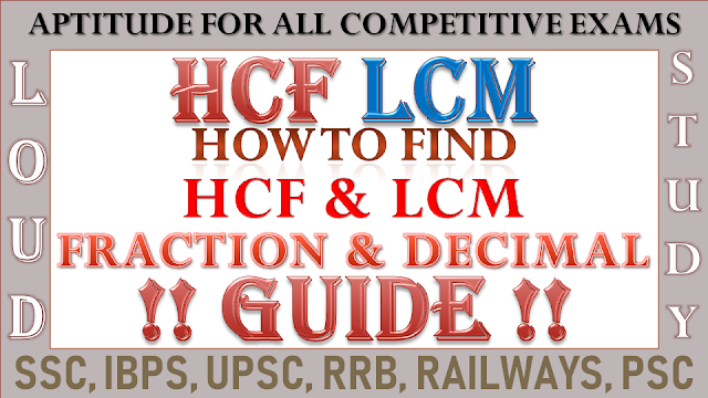 HCF and LCM of Fractions and Decimals