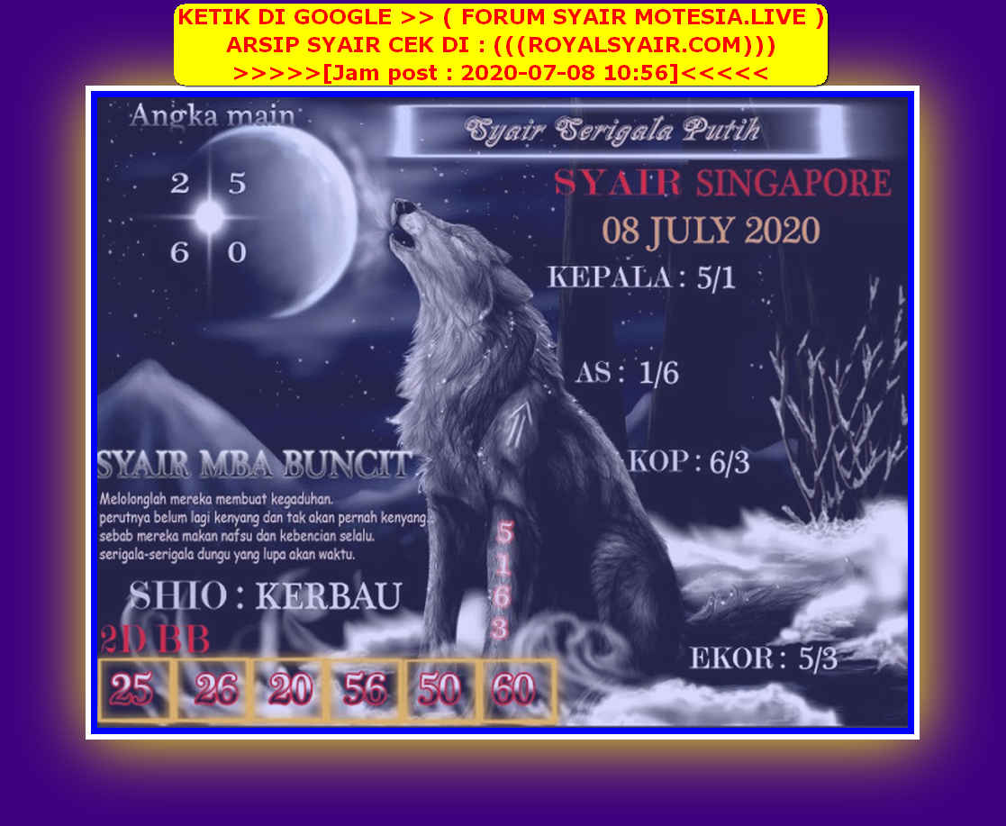 Kode syair Singapore Rabu 8 Juli 2020 166