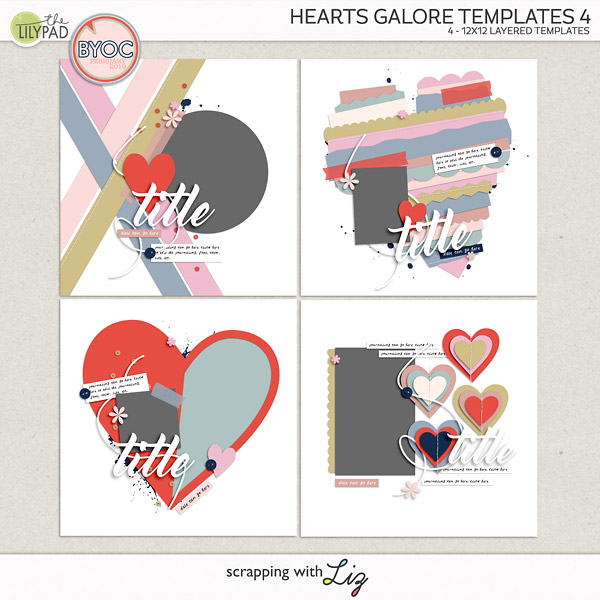 Valentine Style Digital Scrapbook Templates