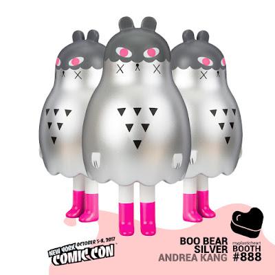 New York Comic Con 2017 Exclusive Boo Bear Silver Edition Vinyl Figure by Andrea Kang x myplasticheart