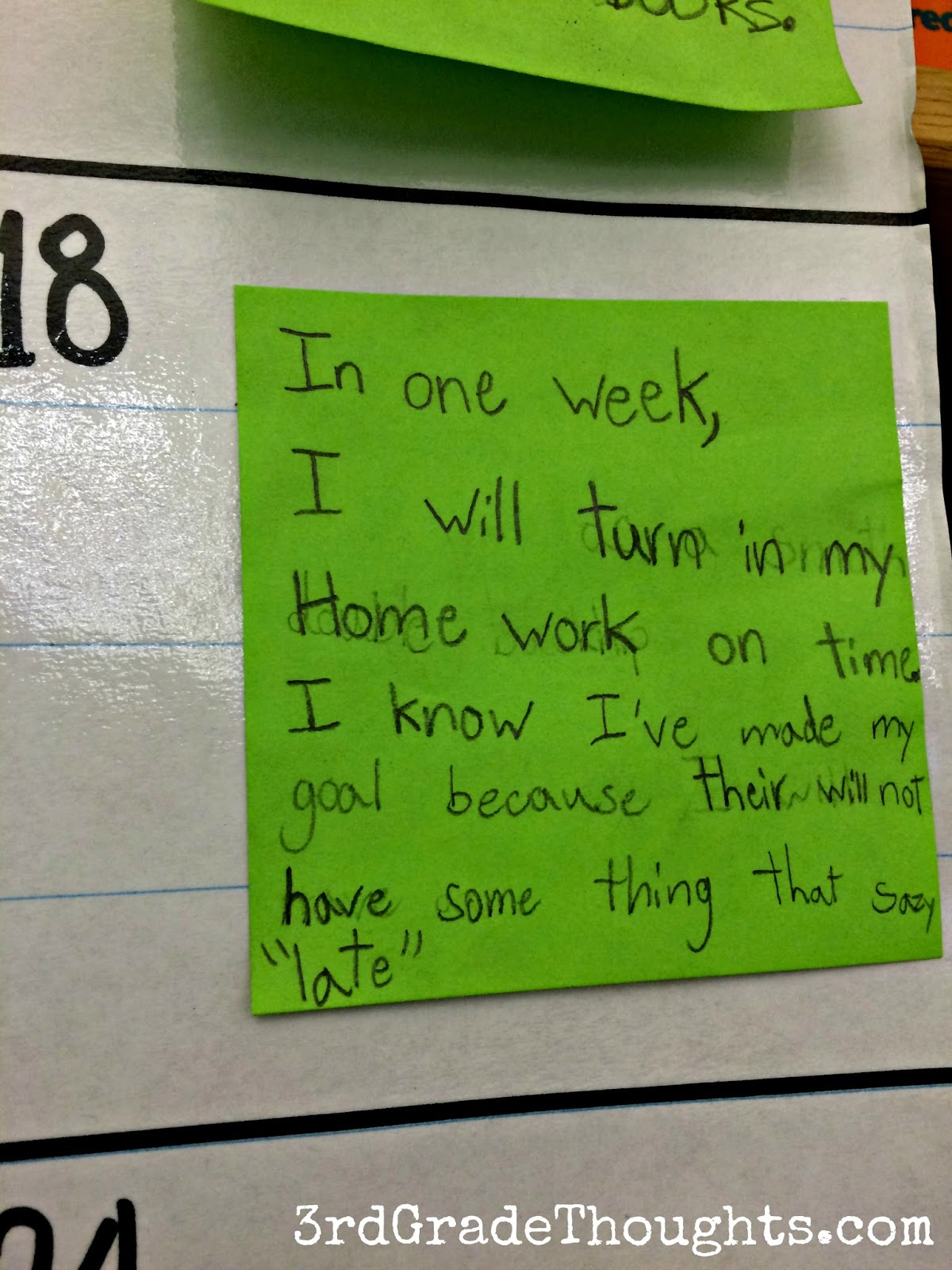 working on weekly class smart goals 3rd grade thoughts