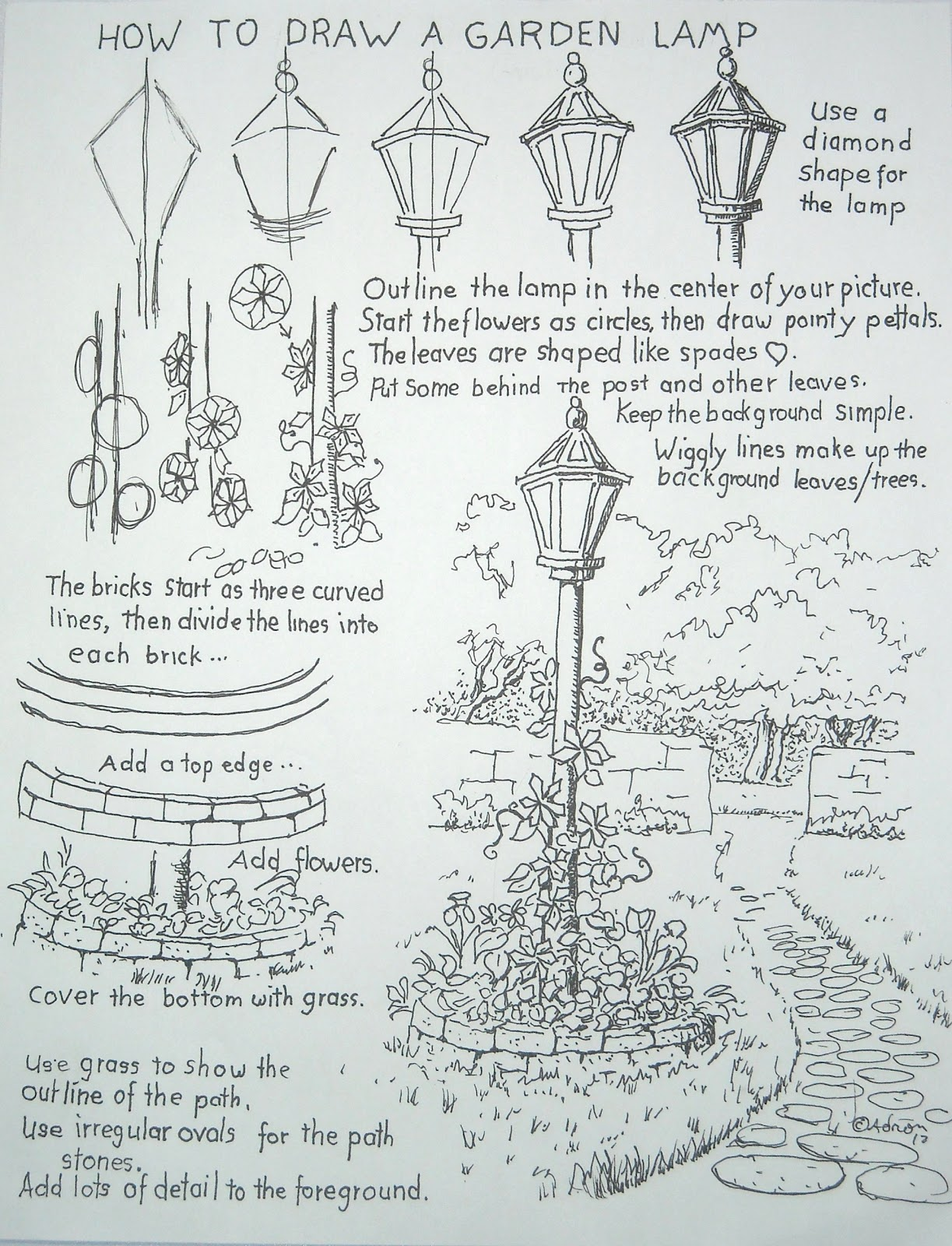 How To Draw A Garden Lamp Post