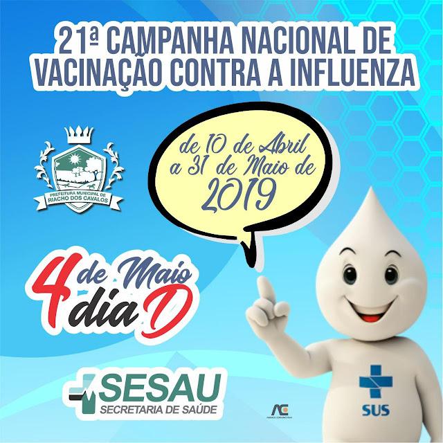 Sábado, 04 de maio, é o Dia D de Vacinação contra a gripe em Riacho dos Cavalos
