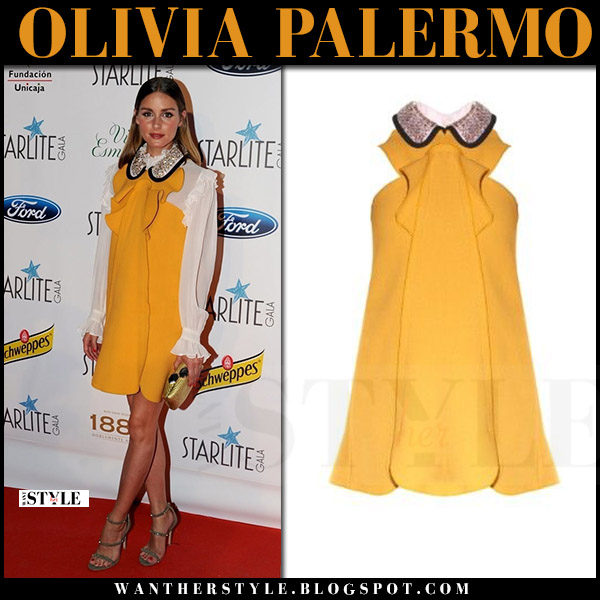 Olivia Palermo in yellow mustard sleeveless crystal collar mini dress giambattista valli red carpet clothes august 11