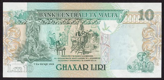 Malta money currency 10 Maltese Lira banknote 1989 Sette Giugno