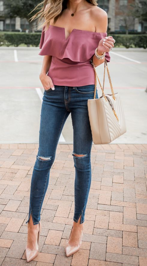 stylish summer outfit: top + bag + rips + heels