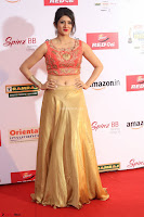 Harshika Ponnacha in orange blouuse brown skirt at Mirchi Music Awards South 2017 ~  Exclusive Celebrities Galleries 107.JPG