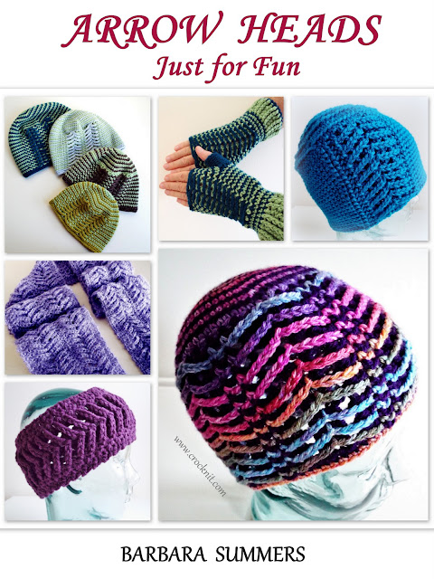 arrow heads, arrow stitch pattern, hats, mittens, scarf, headband, how to crochet, crochet ebook,