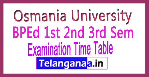 Osmania University OU BPEd 1st 2nd 3rd Sem Exam Time Table