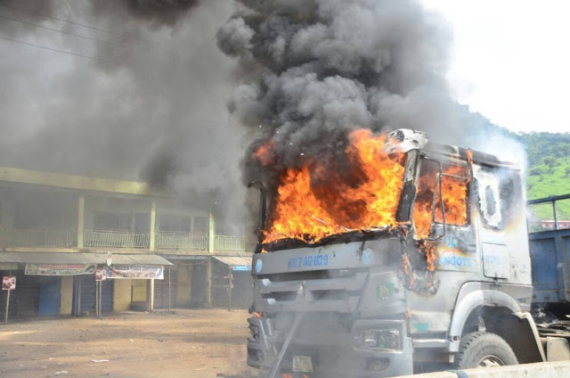 Kogi Poly Students Burn Dangote Truck As They Riot Over Death Of Colleague Killed By Dangote Truck [Photos]