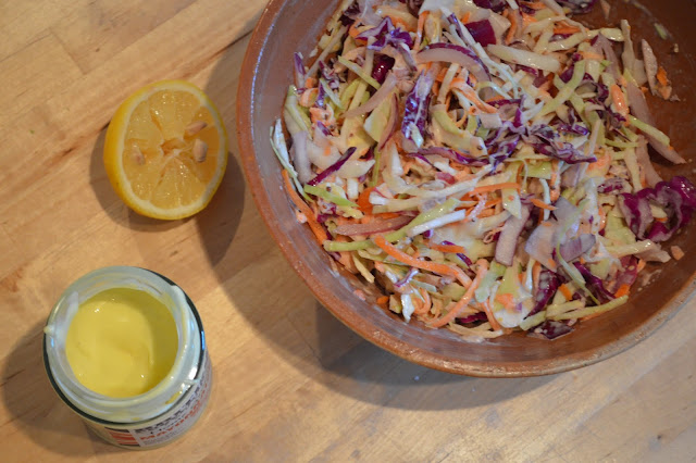 Home made coleslaw ready to serve