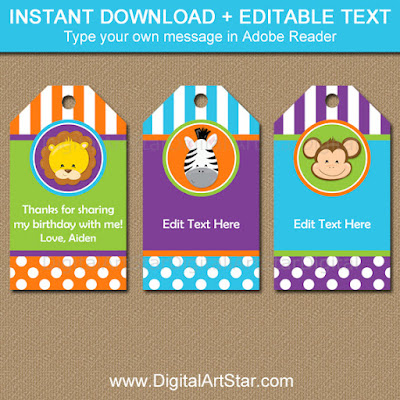 jungle birthday thank you tags instant download party printable