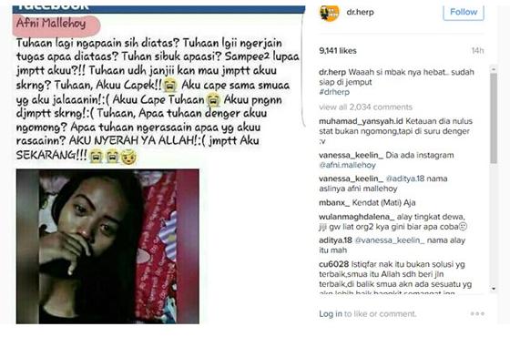 Status Facebook Afni Mallehoy, Cewek Patah Hati Yang Ingin Mati Jadi Viral