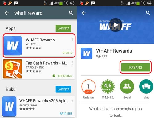 Cara install whaff Reward di hp android kamu