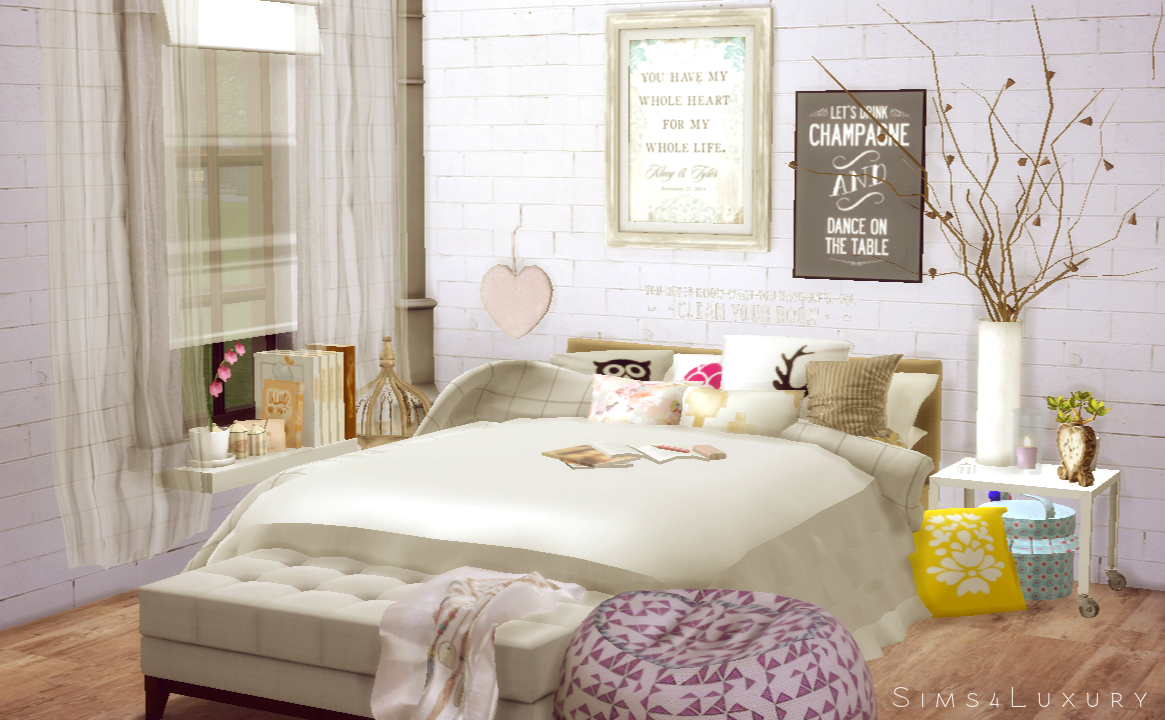 Interior cocooning part 1 bedroom sims4luxury for 4 bed